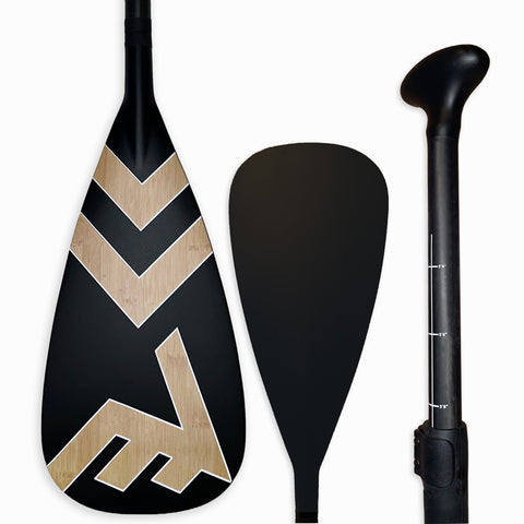 Carbon-Fiberglass Adjustable Paddle with ABS Edge  - Bamboo/Black - SUP_Paddleboard_Paddle_V_Drive_blade - VAMO - www.vamolife.com