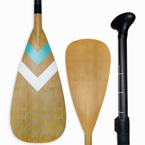 Carbon-Fiberglass Adjustable Paddle with ABS Edge  - Bamboo/Caribbean - SUP_Paddleboard_Paddle_V_Drive_blade - VAMO - www.vamolife.com