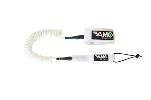 9' Full Coiled SUP Paddleboard Leash - White - Paddleboard_SUP_Leash_Coil_Leash_Neoprene_Cuff - VAMO - www.vamolife.com