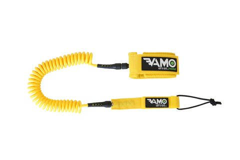 Full Coiled Leash 10' - Yellow - Paddleboard_SUP_Leash_Coil_Leash_Neoprene_Cuff - VAMO - www.vamolife.com