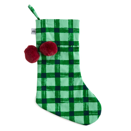 Green Gingham Christmas Stocking