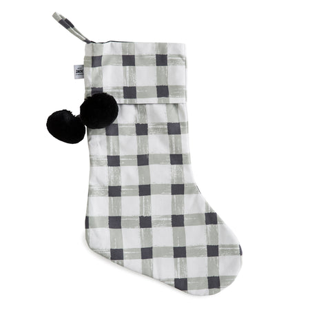 Grey Gingham Christmas Stocking - Pre order for delivery mid October