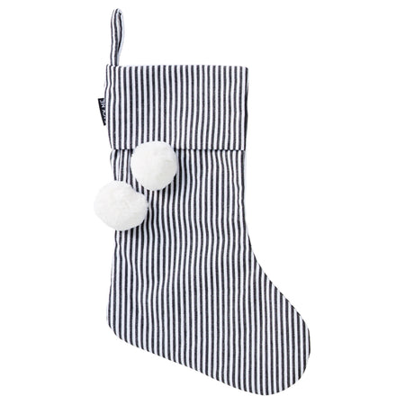 Pinstripe Black & White Christmas Stocking