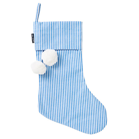 Pinstripe Blue & White Christmas Stocking