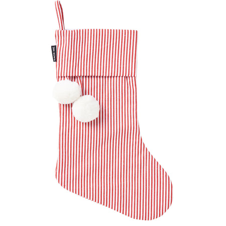 Pinstripe Red & White Christmas Stocking