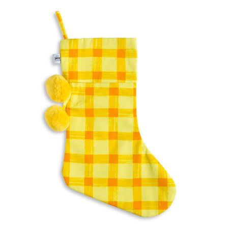Yellow Gingham Christmas Stocking