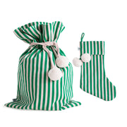 [PRE-ORDER] Classic Green Stripes Swag Sack + Christmas Stocking Set
