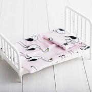 Unicorn and Grey Gingham Reversible Doll Bedding Set