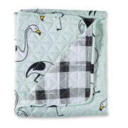 Flamingo Mint Cot Quilted Cover/Playmat