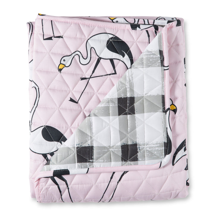 Flamingo Pink Cot Quilted Cover/ Playmat
