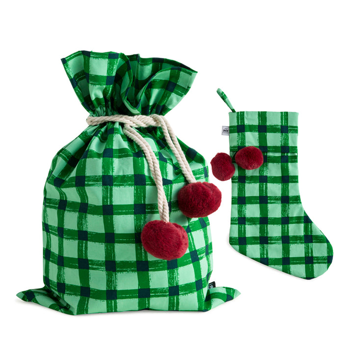 Green Gingham Swag Sack + Christmas Stocking