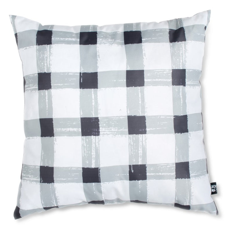 Grey Gingham Waterproof Small Cushion Cover with Insert