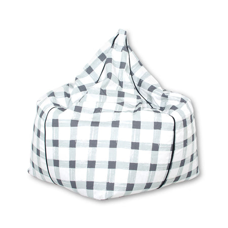 Grey Gingham Bean Bag Cover