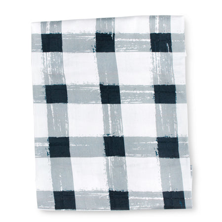 Grey Gingham Flat Sheet (King Single size left)