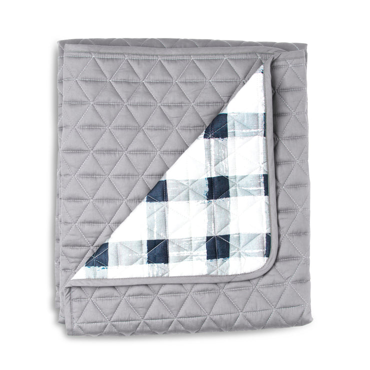 Grey Gingham Cot Quilted Cover/Playmat