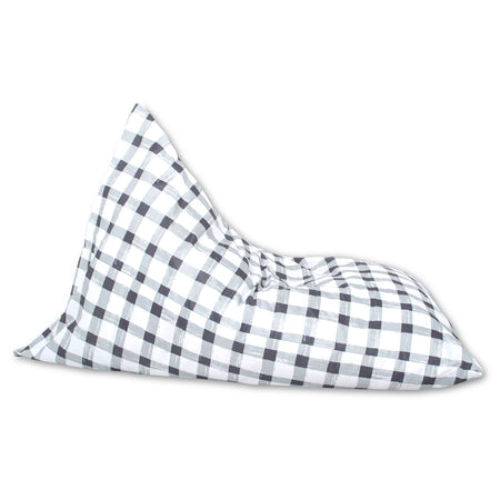 Grey Gingham Lounger Bean Bag Cover (Regular size only)