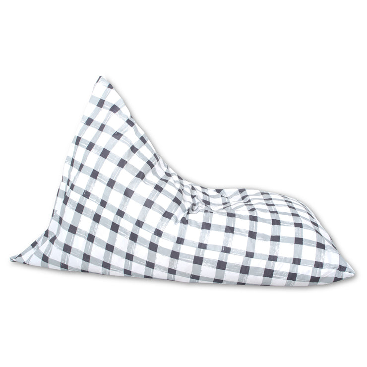 Grey Gingham Lounger Bean Bag Cover
