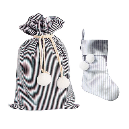 Black Pinstripe Swag Sack + Christmas Stocking Set