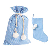 [PRE-ORDER] Blue Pinstripe Swag Sack + Christmas Stocking Set