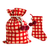 Red Gingham Swag Sack + Christmas Stocking