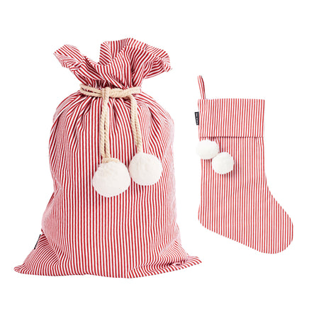 Red Pinstripe Swag Sack + Christmas Stocking Set - Pre order for delivery in 2 weeks