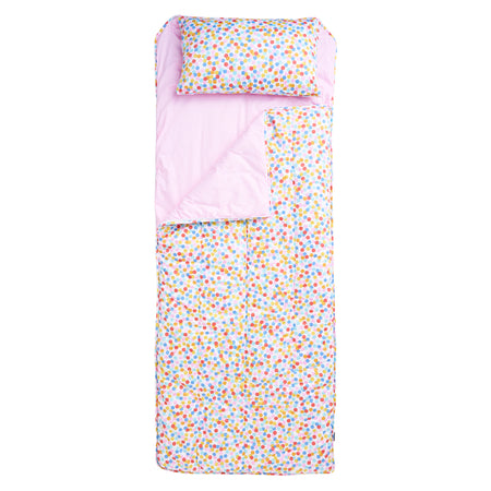 Confetti/Solid Pink Sleeping Bag