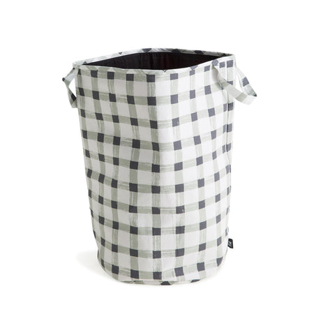 Grey Gingham Storage Basket