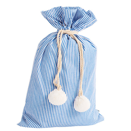Pinstripe Blue & White Swag Sack