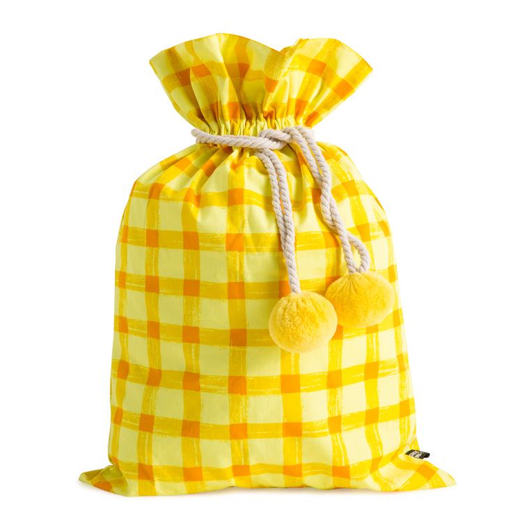 Yellow Gingham Swag Sack