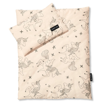 Reversible Unicorn/Grey Gingham Doll Bedding Set