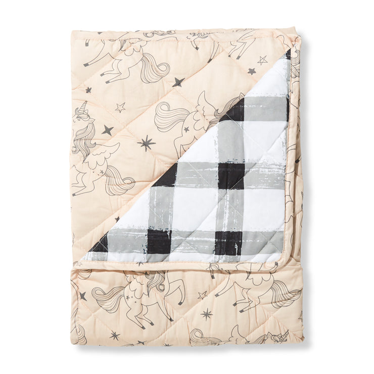 Unicorn/Grey Gingham Cot Quilted Cover/Playmat