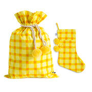 Yellow Gingham Swag Sack + Christmas Stocking - Pre order for delivery in 2 weeks