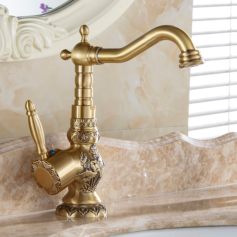 bathroom swivel ship flowers tap antique faucet brass hole spout vessel free mixer sink carved item single