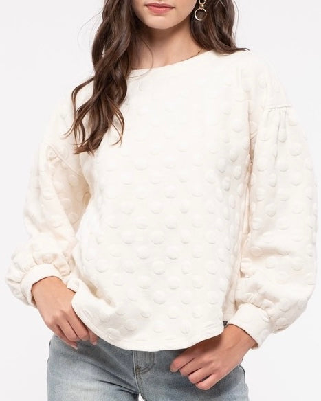 Puff Dot Bubble Sleeve Top