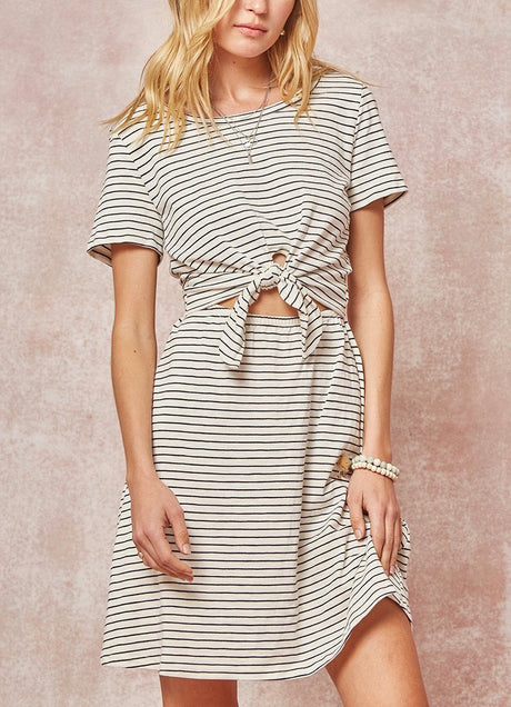 Stripe Open Tie Front Knit Dress
