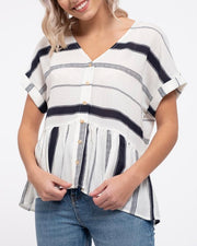 Stripe Button Down Drop Waist Top