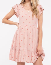 Tonal Dot Print Babydoll Dress