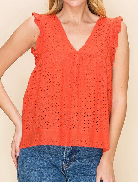 Eyelet Ruffle Shoulder Top