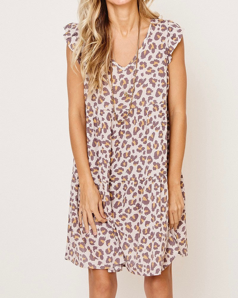 Animal Print Babydoll Dress