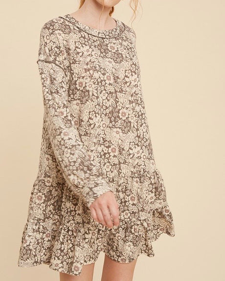 Floral Knit Tier Hem Dress