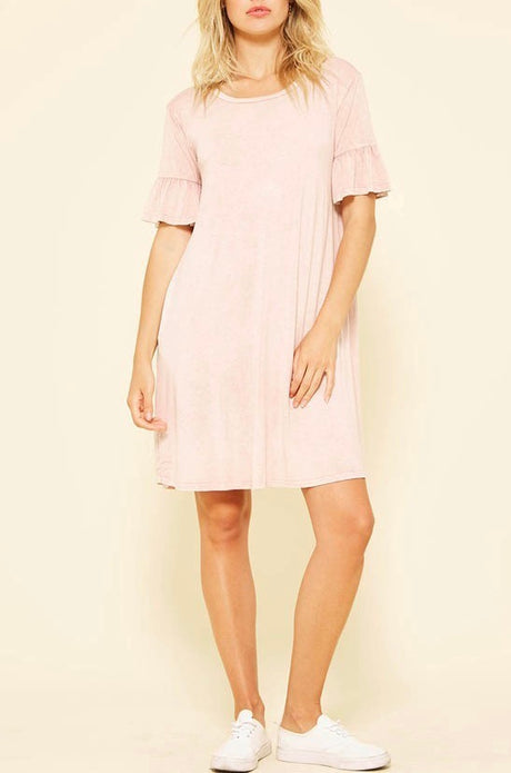 Mineral Wash Ruffle Sleeve T-Shirt Dress
