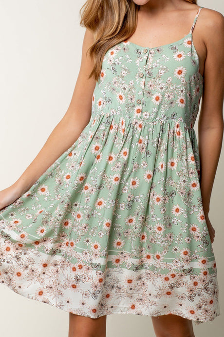Floral Border Print Babydoll Dress