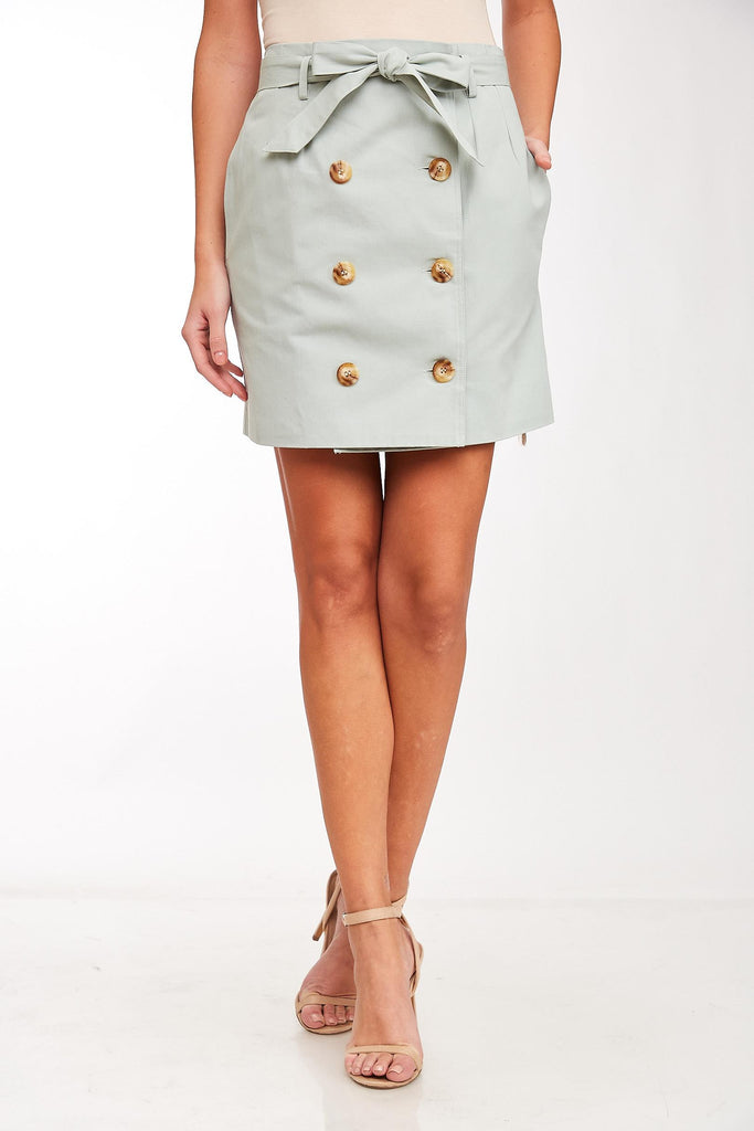 Double Button Belted Skirt
