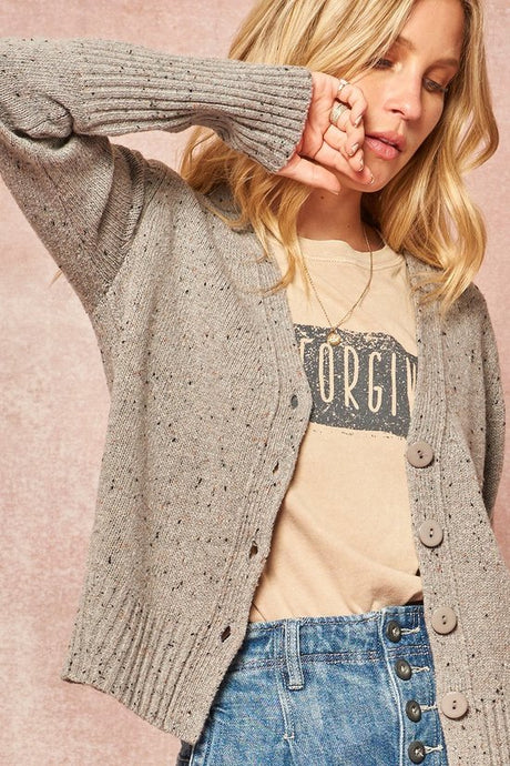 Speckled Yarn Sweater Cardigan