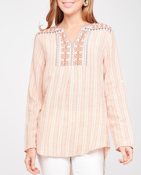 Embroidered Striped Gauze Tunic w/ Roll Tab Slv