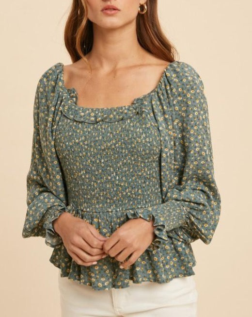 Floral Smocked Bubble Sleeve Top