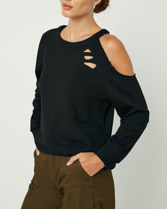 Destructed Cutout Shoulder Sweater