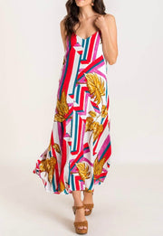 Abstract Line + Leaf Maxi Dress