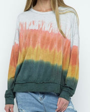 Dip Dye Long Sleeve Knit Top