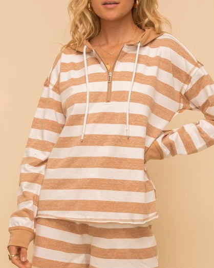 French Terry Stripe Hoodie